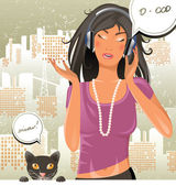 Girl and cat — Stock Vector