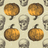 Halloween seamless with sculls and pumpkins — Vetor de Stock