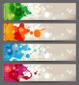 Banners with splashing paints — Vector de stock