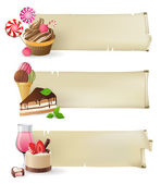 Banners with sweets and candies — Stockvector