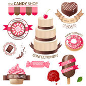 Sweets and candies emblems — Vector de stock