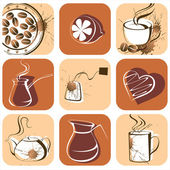 Tea and coffee square icons — Stock Vector