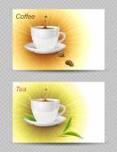 Coffee and tea cards — Stock vektor