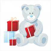 Teddy bearwith presents — Stock Vector