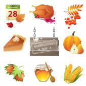 Thanksgiving day icons — Stock Vector