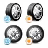 Car wheels with winter and summer tires — Wektor stockowy