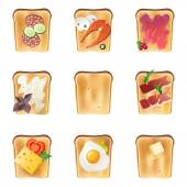 9 toasts — Stock Vector