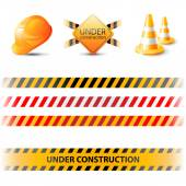 Under construction ribbons and design elements — Stock Vector