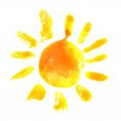 Watercolor sun icon — Stock Vector