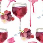 Watercolor wine seamless — Stock Vector