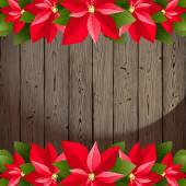 Wooden background with poinsettia borders — Stock Vector