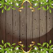 Wooden background with mistletoe borders — Stock Vector