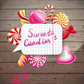 Background with sweets and candies — Vetorial Stock