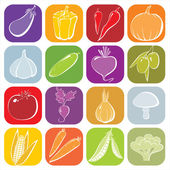 One line vegetables icons — Stock vektor