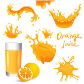 Orange juice splashes — Stock Vector