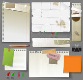 Paper pages, sheets of paper and clips — Stok Vektör