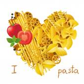 Heart made from pasta — Stock Vector