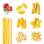 Different pasta types — Stock Vector