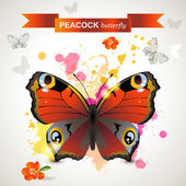 Peacock butterfly — Stock Vector