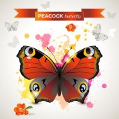 Mariposa pavo real — Vector de stock