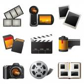Photo and video icons — 图库矢量图片