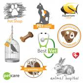 Pets icons and design elements — Vector de stock