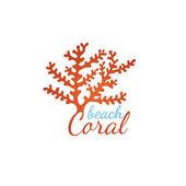 Coral beach logo template — Vecteur