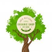 Organic shop emblem over green tree — Stock Vector