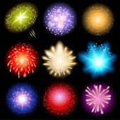 Fireworks set — Stock Vector