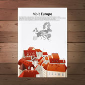 Visit Europe placard with city landscape — Stok Vektör