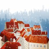 Winter city landscape — Stock Vector
