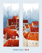 Winter banners with city landscape — Stock Vector