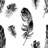 Seamless pattern with hand drawn feathers — Stok Vektör