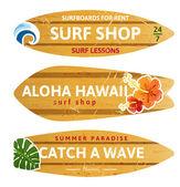 Wooden surfboards — Stock Vector