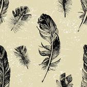 Naadloze patroon met de hand getekende veren — Stockvector