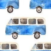 Seamless pattern with retro travel van — Stockvektor