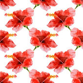 Seamless watercolor hibiscus pattern — Vecteur
