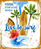 Live to surf poster in retro style — Vector de stock