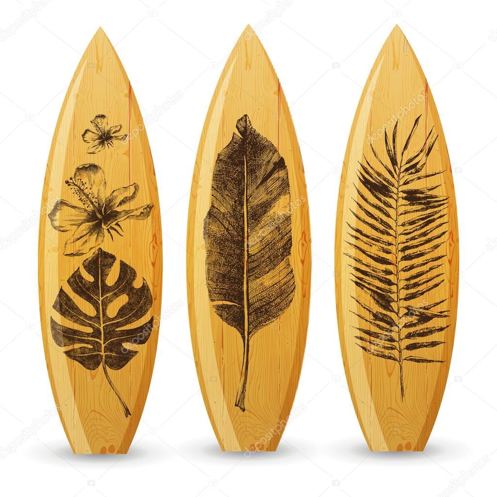 Tavole da surf in legno con mano disegnate foglie tropicali vettoriali stock mart m 72510931 - Tavole da surf decathlon ...