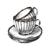 Hand drawn cups with saucers — Stock vektor