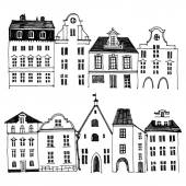 Hand drawn houses borders — Stock Vector