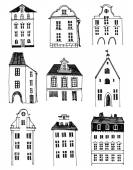 Hand drawn houses — Stock Vector