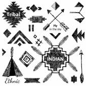 Hand drawn tribal elements set — Stock Vector