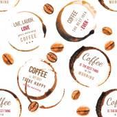 Kaffeeflecken mit Typ Entwürfe nahtlose Muster — Stockvektor