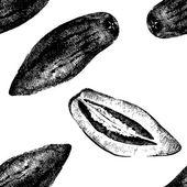 Hand drawn pepino melon seamless — Stockvector