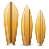 Wooden surf boards — Stock Vector