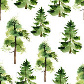 Watercolor trees seamless pattern — Stock Vector