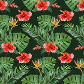 Hand drawn tropical plants seamless — Stock Vector