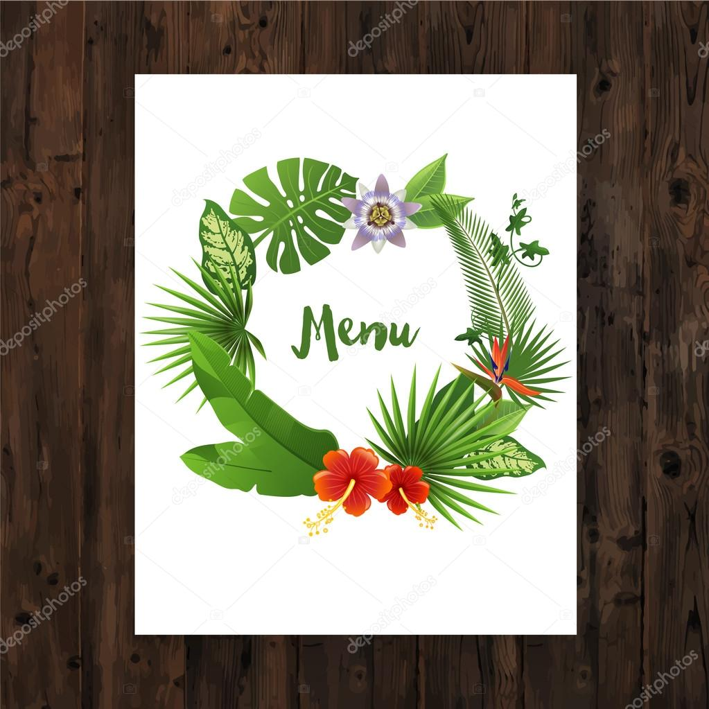 Background image 8841 - Background With Menu Text In Tropical Wreath On Wooden Background Vector By Mart_m
