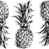 Hand getrokken ananas naadloze — Stockvector